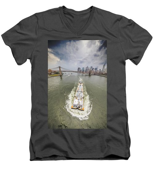 Aerial View - The Barge At The East River Men's V-Neck T-Shirt