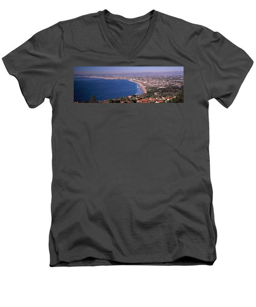 Aerial View Of A City At Coast, Santa Men's V-Neck T-Shirt by Panoramic Images