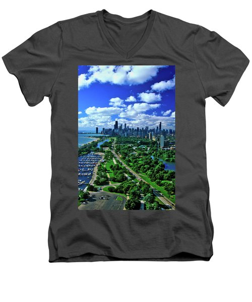 Aerial View Of Chicago, Illinois Men's V-Neck T-Shirt