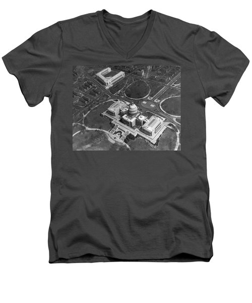 Aerial View Of U.s. Capitol Men's V-Neck T-Shirt by Underwood Archives