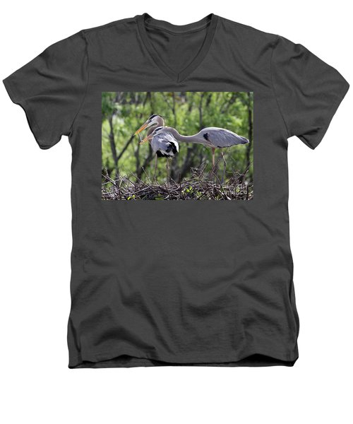 Affectionate Great Blue Heron Mates Men's V-Neck T-Shirt