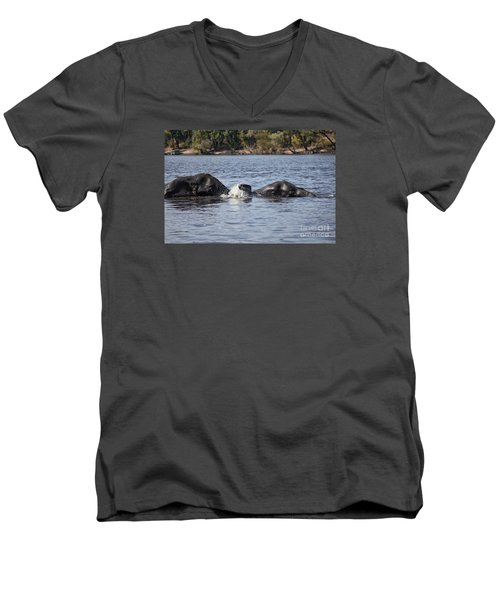 African Elephants Swimming In The Chobe River Botswana Men's V-Neck T-Shirt