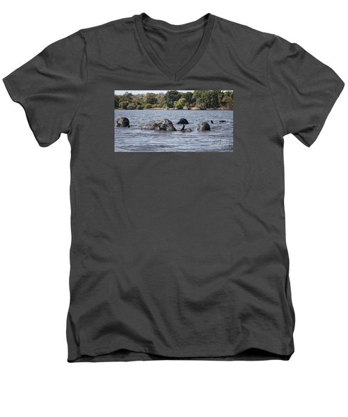 Men's V-Neck T-Shirt featuring the photograph African Elephants Swimming In The Chobe River by Liz Leyden