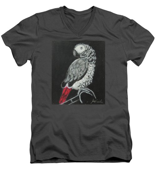 Men's V-Neck T-Shirt featuring the painting African Grey by Jeanne Fischer