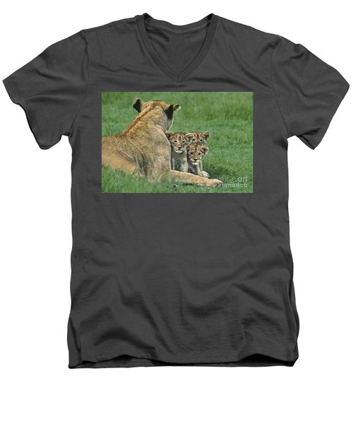 Men's V-Neck T-Shirt featuring the photograph African Lion Cubs Study The Photographer Tanzania by Dave Welling