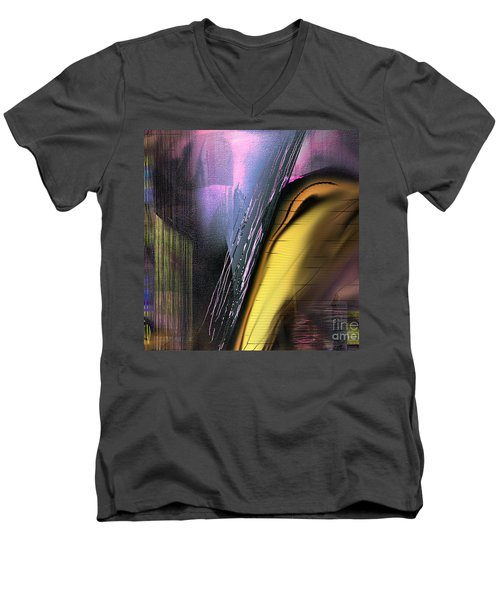 Men's V-Neck T-Shirt featuring the painting After Dark 2 by Yul Olaivar