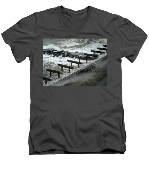 Men's V-Neck T-Shirt featuring the photograph After Storm Sandy by Joan Reese