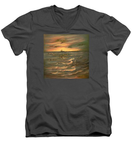 Men's V-Neck T-Shirt featuring the painting After Sunset  by Laila Awad Jamaleldin