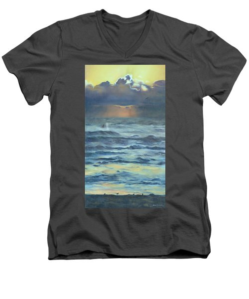 Men's V-Neck T-Shirt featuring the painting After The Storm by Lori Brackett