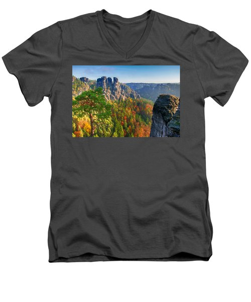 After The Sunrise On The Bastei Men's V-Neck T-Shirt
