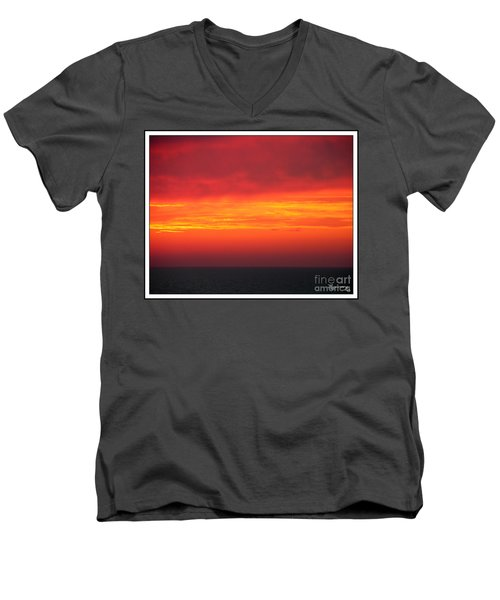 Men's V-Neck T-Shirt featuring the photograph Afterglow by Mariarosa Rockefeller