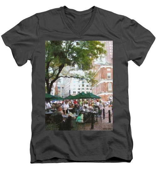 Afternoon At Faneuil Hall Men's V-Neck T-Shirt by Jeff Kolker