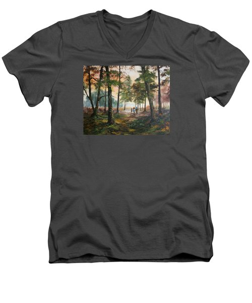 Men's V-Neck T-Shirt featuring the painting Afternoon Ride Through The Forest by Jean Walker