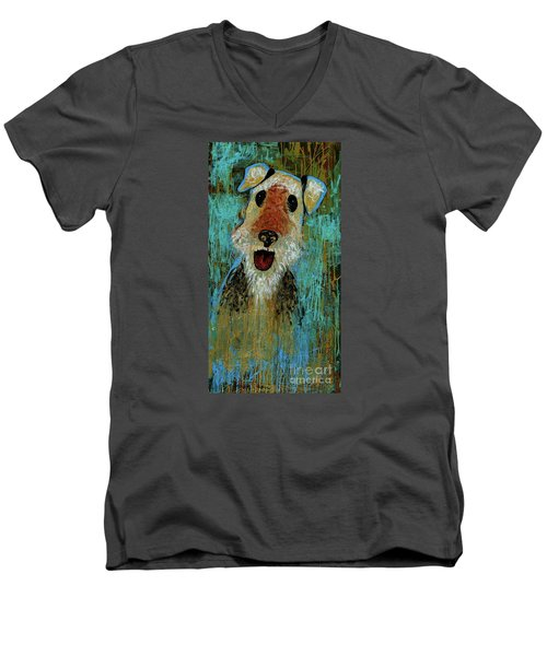Airedale Terrier Men's V-Neck T-Shirt by Genevieve Esson
