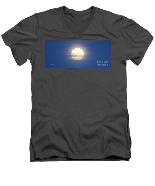 Airplane Flying Into Full Moon Men's V-Neck T-Shirt