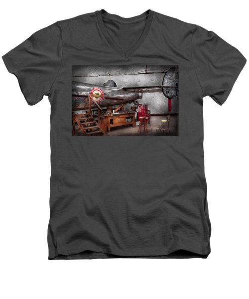 Airplane - The Repair Hanger  Men's V-Neck T-Shirt by Mike Savad