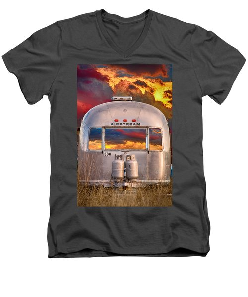 Airstream Travel Trailer Camping Sunset Window View Men's V-Neck T-Shirt