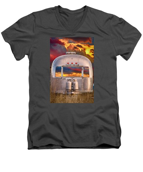 Airstream Travel Trailer Camping Sunset Window View Men's V-Neck T-Shirt