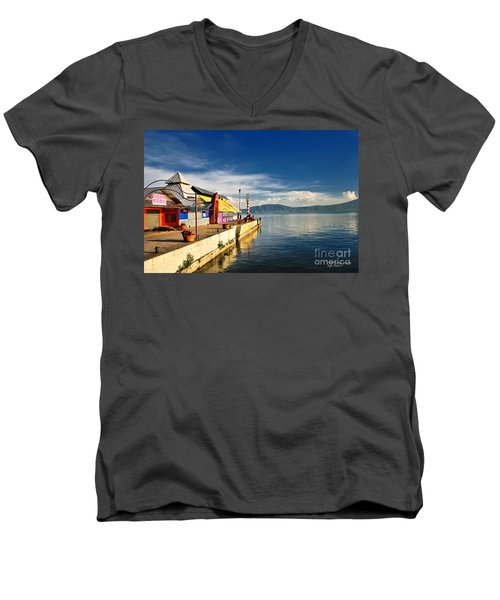 Men's V-Neck T-Shirt featuring the photograph Ajijic Pier - Lake Chapala - Mexico by David Perry Lawrence