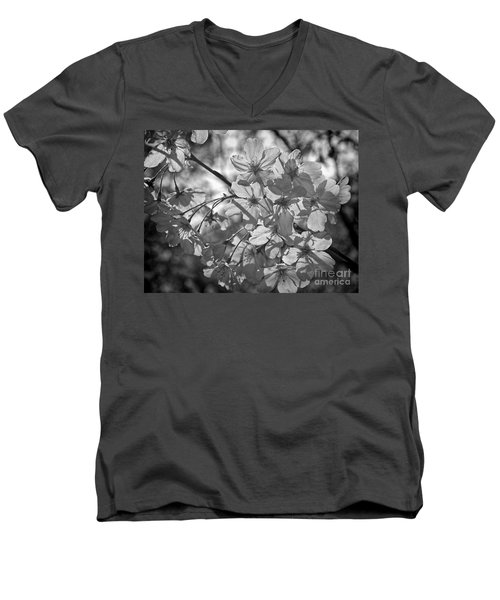 Akebono In Monochrome Men's V-Neck T-Shirt by Peggy Hughes