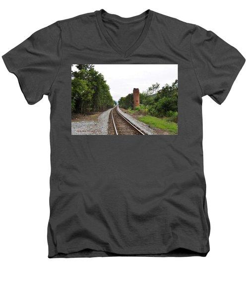 Men's V-Neck T-Shirt featuring the photograph Alabama Tracks by Verana Stark