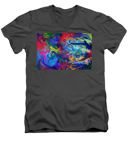 Men's V-Neck T-Shirt featuring the digital art Aladdin's Lamp by Peggy Collins