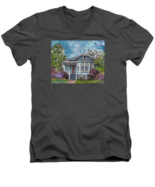 Men's V-Neck T-Shirt featuring the painting Alameda 1884 - Eastlake Cottage by Linda Weinstock