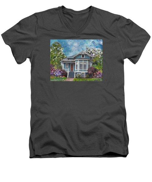 Alameda 1884 - Eastlake Cottage Men's V-Neck T-Shirt by Linda Weinstock