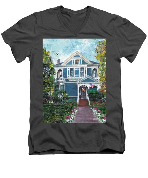 Men's V-Neck T-Shirt featuring the painting Alameda 1887 - Queen Anne by Linda Weinstock