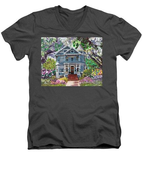 Alameda 1890 Queen Anne Men's V-Neck T-Shirt by Linda Weinstock