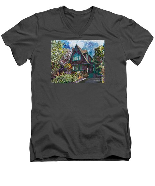 Men's V-Neck T-Shirt featuring the painting Alameda 1907 Traditional Pitched Gable - Colonial Revival by Linda Weinstock