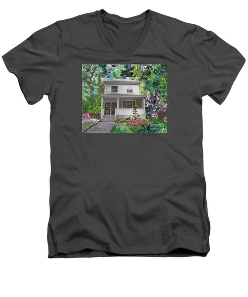 Men's V-Neck T-Shirt featuring the painting Alameda 1933 Duplex - American Foursquare  by Linda Weinstock