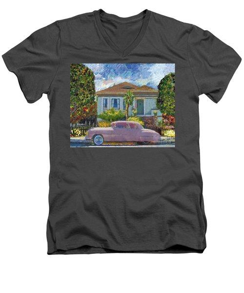Alameda 1908 House 1950 Pink Dodge Men's V-Neck T-Shirt
