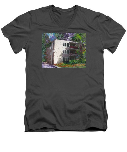 Men's V-Neck T-Shirt featuring the painting Alameda 1964 Apartment Architecture   by Linda Weinstock