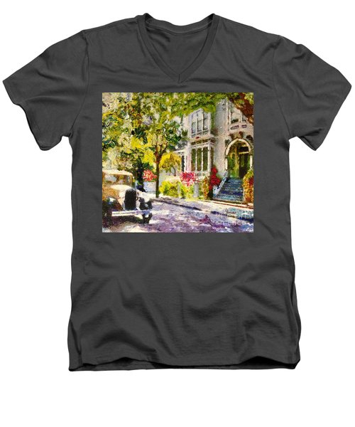 Men's V-Neck T-Shirt featuring the painting Alameda  Afternoon Drive by Linda Weinstock