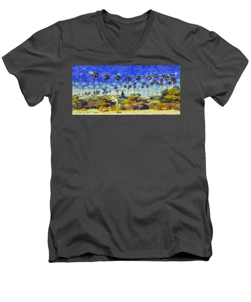 Men's V-Neck T-Shirt featuring the painting Alameda Famous Burbank Palm Trees by Linda Weinstock