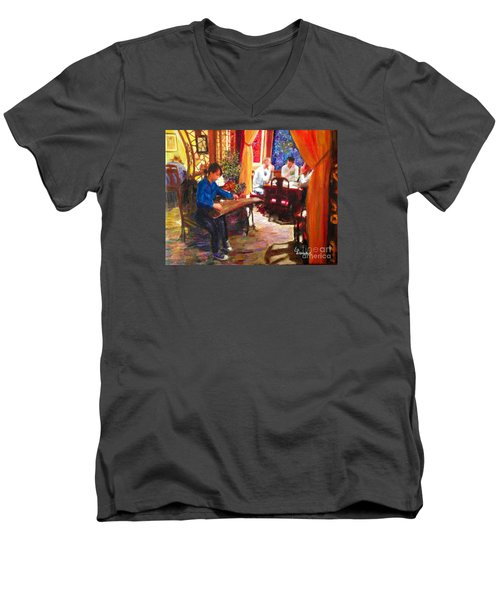 Men's V-Neck T-Shirt featuring the painting Guzheng by Linda Weinstock