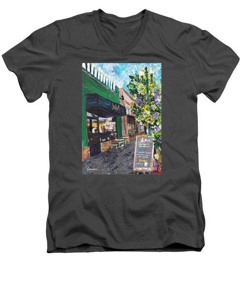Men's V-Neck T-Shirt featuring the painting Alameda Julie's Coffee N Tea Garden by Linda Weinstock