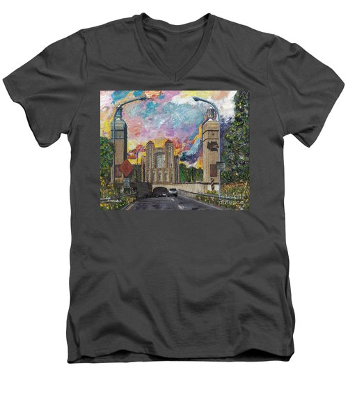 Men's V-Neck T-Shirt featuring the painting Alameda Webster Posey Tube Portal 1928 by Linda Weinstock