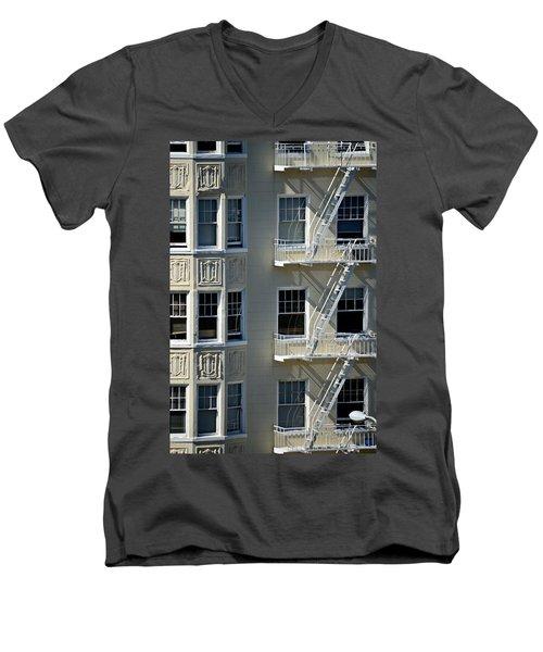 Men's V-Neck T-Shirt featuring the photograph Alamo Square San Francisco by Steven Richman