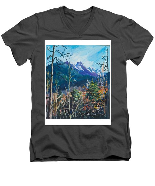 Men's V-Neck T-Shirt featuring the painting Alaska Autumn by Yulia Kazansky