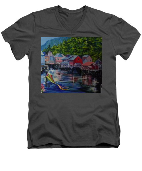 Alaska. Ketchikan Men's V-Neck T-Shirt by Anna  Duyunova