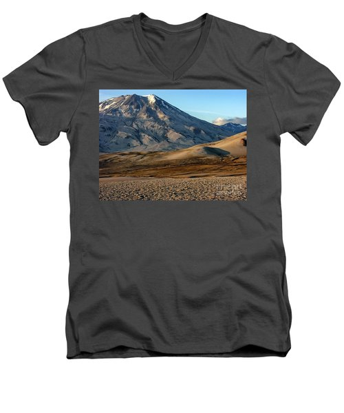 Men's V-Neck T-Shirt featuring the photograph Alaska Landscape Scenic Mountains Snow Sky Clouds by Paul Fearn