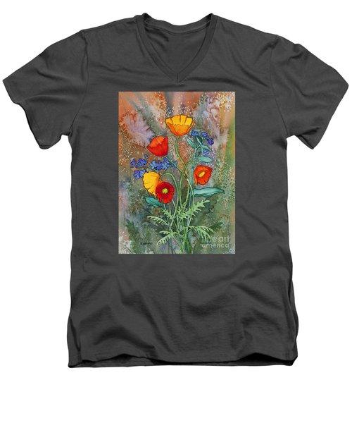 Alaska Poppies And Forgetmenots Men's V-Neck T-Shirt