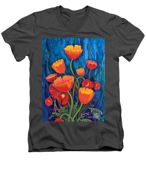 Men's V-Neck T-Shirt featuring the mixed media Alaska Poppies by Teresa Ascone