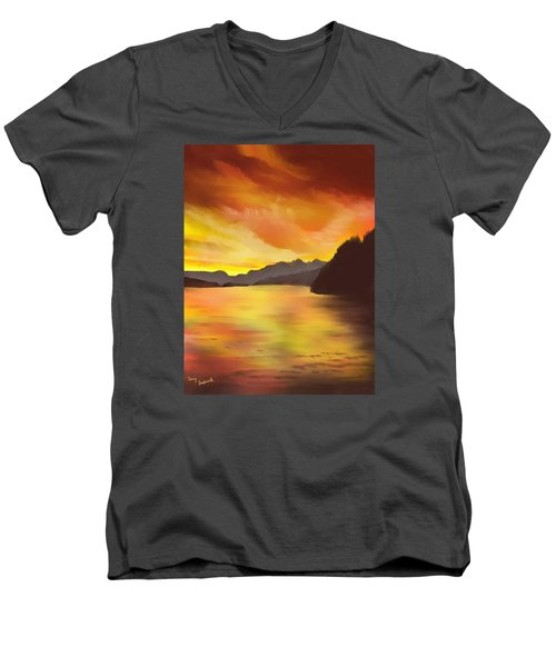 Men's V-Neck T-Shirt featuring the painting Alaska Sunset by Terry Frederick
