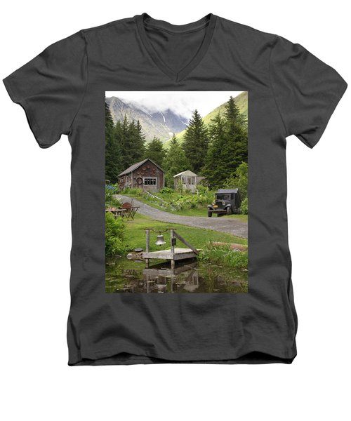 Alaskan Pioneer Mining Camp Men's V-Neck T-Shirt