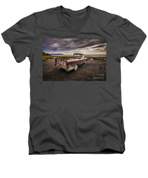 Alaskan Surfer Dudes Truck Men's V-Neck T-Shirt by Steven Reed