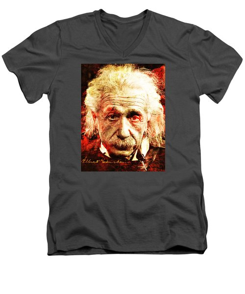Albert Einstein  Men's V-Neck T-Shirt by J- J- Espinoza