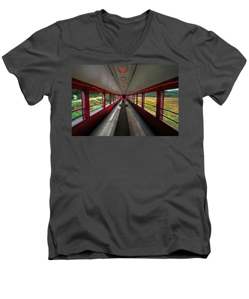 Men's V-Neck T-Shirt featuring the photograph All Aboard Tioga Central Railroad by Suzanne Stout